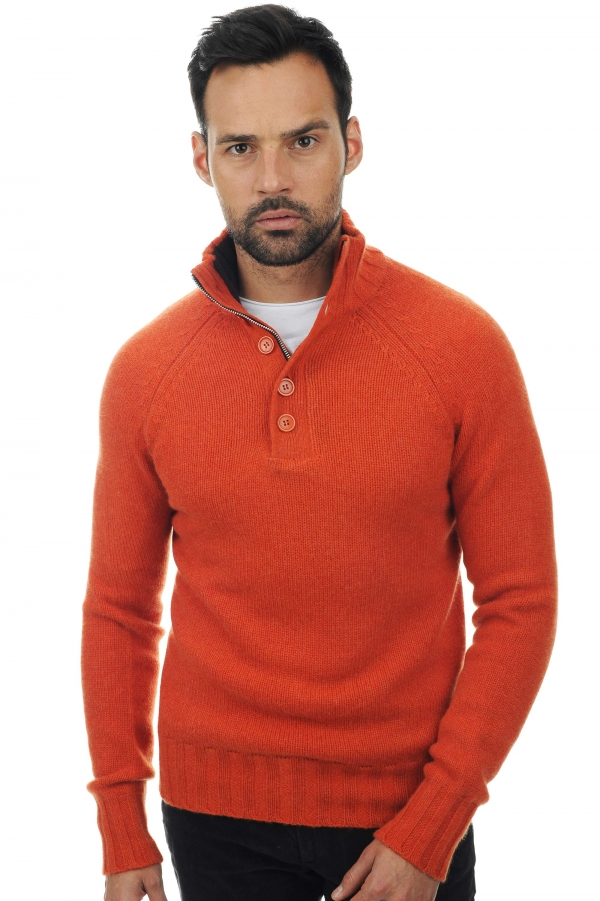 Cashmere kaschmir pullover herren polo lewis paprika capuccino l